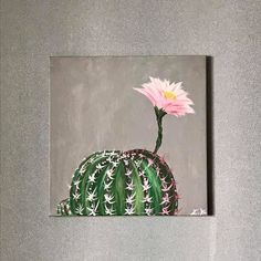 Excited to share the latest addition to my #etsy shop: Cactus Cacti in bloom acrylic painting on canvas https://etsy.me/2G7VbP0 #art #painting #pink #anniversary #gray #cacti #succulent #plant #flower