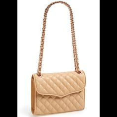 """Rebecca Minkoff 'Quilted Affair' Handbag Shoulder Bag. Richly quilted bag is fitted with a pull-through chain-and-leather strap. Magnetic-snap flap closure, convertible crossbody strap, exterior magnetic-snap pocket. Interior zip and wall pockets. Signature print lining. Soft tan color. Leather. 11""""W x 7 1/4""""H x 3""""D. 13"""" strap drop, 23"""" crossbody strap drop. Gently used. No trades. Rebecca Minkoff Bags"""