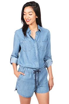0a25787ce70 Celebrity Pink Womens Juniors One Piece Button Up Denim Romper M Denim --  Click on