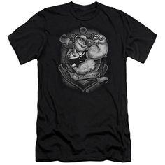 POPEYE/ANCHORS AWAY-S/S ADULT 30/1-BLACK-2X  ANCHORS AWAY   Cartoon T-Shirts   Mopixiestore.com