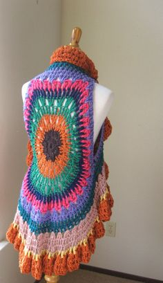 Mandala vest USA FREE SHIPPING MULTICOLORS CROCHET VEST Spring Summer Fall Fashion by marianavail, $60.00