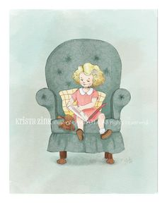 Little Girl Wall Art Print, Little Girl Reading Books With Her Teddy Bear,  Nursery Decor for Girls
