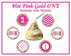 One First Birthday girl Hot pink gold PRINTABLE hersheys kiss labels by Cupcake Express
