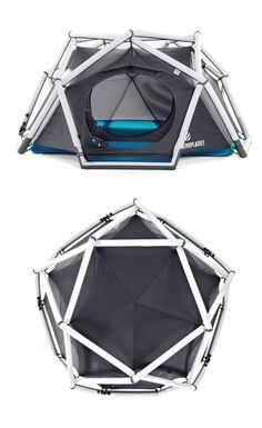 Geodesic inflatable tent - no tools required for assembly! Genius!