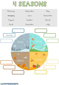 Months and seasons: Months of the year worksheet Seasons Worksheets, 1st Grade Worksheets, Science Worksheets, English Worksheets For Kids, English Lessons For Kids, English Activities, English Writing, Teaching English, Learn English