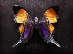 SLOW FASHION BUTTERFLY hair clip marpesia jewelry hairpin leatherwork handmade jewelry  #marpesia #butterfly #slowfashion #slow #fashion #handmade  #handmadejewelry #hair #hairfashion #haircolor #yellow #purple #purplehair #tiger #art #leatherwork