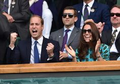 Kate and William cheer on Djokovic as he wins against Federer. Djokovic served for the match in the fourth set and had a match point on Federer