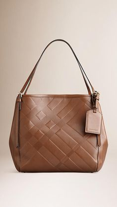 Burberry The Small Canter in Check Embossed Leather - Elegant tote bag in check-embossed supple leather.  Refined hand-painted edges, open top with stay fastening and magnetic closure, leather straps.  Discover the women's bags collection at Burberry.com