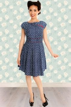 Retrolicious Blue Dot Floral A line Dress  105 39 14600 20141207 1V