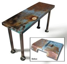Tables Made out of Recycled Car Hoods