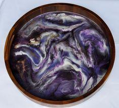 Purple Serpent - Resin Art Tray Wood Resin, Resin Art, Serving Tray Wood, Acacia Wood, Art Pieces, Purple, Handmade, Etsy, Group