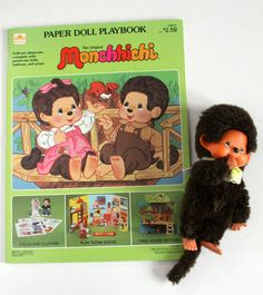 Vtg 1974 Monchhichi Baby Monkey Plush Mattel Sckiguchi Paper Doll Playbook Book