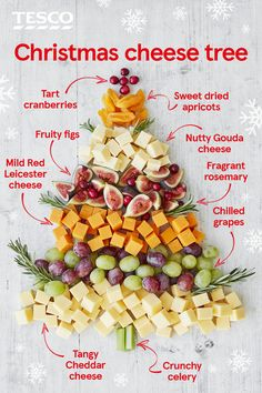 Make your Christmas cheese board with this simple cheese Christmas tree . - Make your Christmas cheese board even more festive with this simple cheese Christmas tree idea. Christmas Cheese, Christmas Party Food, Xmas Food, Christmas Brunch, Christmas Cooking, Christmas Desserts, Tesco Christmas, Fruit Christmas Tree, Xmas Tree
