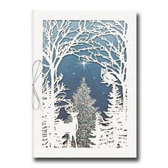 Extraordinary Shine available from Carlson Craft - This laser-cut Christmas card featuring a winter woodland scene is made of recycled paper. #CarlsonCraft