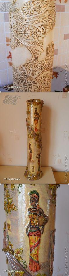 МАСТЕРИЛКА. Напольные вазы из шпулек от линолеума