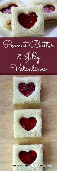 Peanut Butter and Jelly Valentine Sandwiches - http://Meaningfulmama.com