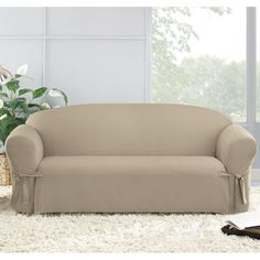 Found it at Wayfair - Cotton Duck Round Arms Straight Skirt Slipcover