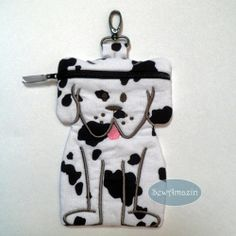Spot White Black Puppy Dog shaped padded zipper case pouch   SewAmazin - Pets on ArtFire @Donna SewAmazin #AFPounce