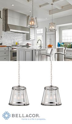 Combining the traditional profile of a tapered shade with on-trend clear seeded glass, the sleek frame and the square-linked chain give the Harrow pendant light collection by Feiss an elevated, contemporary transitional look. http://www.bellacor.com/productdetail/feiss-p1288pn-harrow-polished-nickel-three-light-pendant-with-clear-seedy-glass-panel-1542352.htm?partid=social_pinterestad_1542352