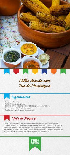 A pedida do dia é milho assado com trio de manteigas. Aprecie sem moderação! #SãoJoão #FestaDasCores | Receita do restaurante Arimbá http://www.arimbarestaurante.com.br/