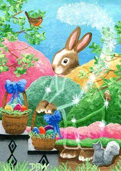 ACEO original art painting Easter eggs bunny baskets animals seasonal fantasy   | eBay