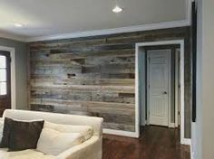 Image result for light gray room with wood accent wall