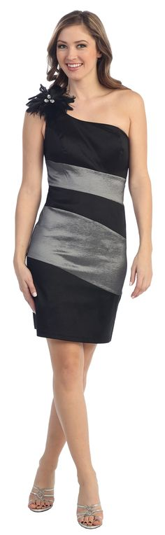 Short Sexy Two Tone Black/Charcoal Cocktail Dress One Shoulder Strap