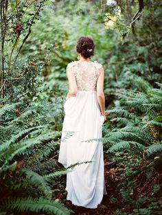 Bride in a Fern Grove | Erich McVey Photography | A Rain Washed Garden Wedding in Pastel Blue and Fern Green to Kick Off Spring!