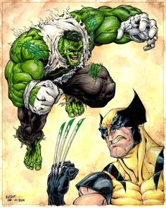 "Hulk /  Wolverine  By Brad Green  Comic Art  ✮✮""Feel free to share on Pinterest"" ♥ღ www.unocollectibles.com"