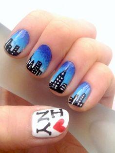 New York City skyline nail art