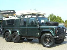 """Land Rover Defender expedition. At first I was all """"Not enough wheels."""" Then I see the wheel on the hood and I'm all """"Perfect!""""."""
