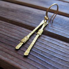 Angles  Hand-Forged Brass Earrings  Asymmetrical by Tangleweeds