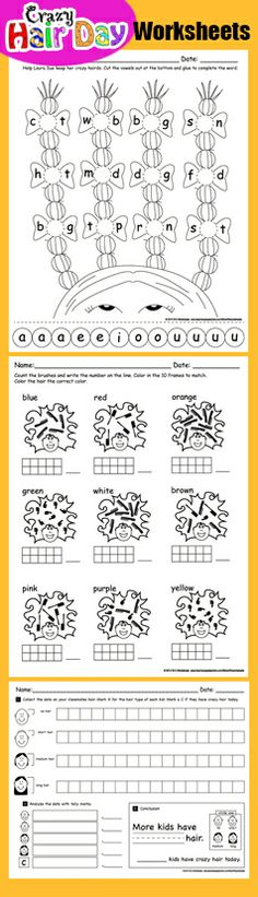 Dr. Seuss Ideas for Crazy Hair Day at School Worksheet for Crazy Hair Day at Kindergarten - 1st Grade - March Printables http://www.teacherspayteachers.com/Product/Right-to-Read-Week-Math-and-Literacy-Pack-Crazy-Hair-Day-1067163