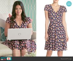 Betsey Johnson Floral Print Chiffon Fit & Flare Dress worn by Gina Rodriguez on Jane the Virgin