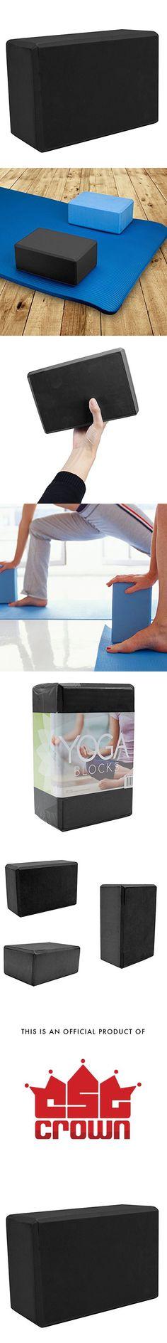 Crown Sporting Goods Large High Density Black Foam Yoga Block, 9 in x 6 in x 4 in