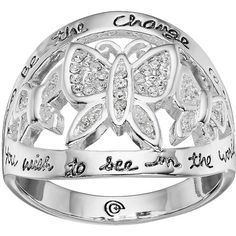 """love this life """"Be The Change"""" Crystal Butterfly Ring ($17) ❤ liked on Polyvore featuring jewelry, rings, grey, monarch butterfly jewelry, crystal stone rings, crystal stone jewelry, butterfly jewelry and crystal jewellery"""