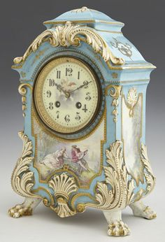 Sevres Clock ~ Japy Freres Antique French~Made in France~Hand Painted Mantle Clock