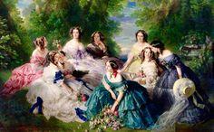 Eugenia de Montijo ,esposa de Napoleon III,con sus Damas de Honor,indirectamente  responsable de la aventura Mejicana
