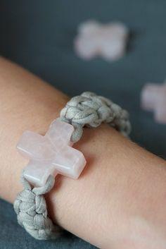 Fabric yarn bracelet with cross
