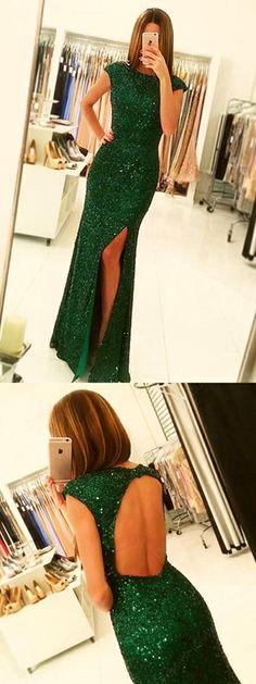 Dark Green Open Back Long Dress, Cap Sleeves Split-Front Prom Gown with Sequins - Miladies.net