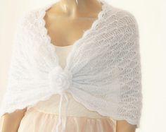 Witte bruiloft omslagdoek, bruids omslagdoek, Bridal Wedding stal witte sjaal, Hand gebreide omslagdoek, witte Capelet, bruiloft Capelet, bruidsmeisje sjaal