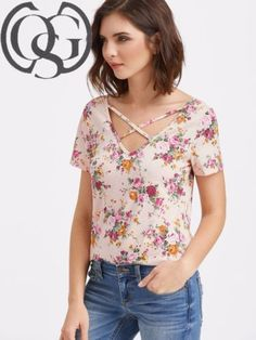 Pink-Crisscross-V-Neck-Floral-Print-T-shirt-Top-Casual-Blouse-Short-Sleeve-New