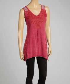 Loving this Fuchsia Embroidered Stud-Appliqué Sleeveless Handkerchief Tunic on #zulily! #zulilyfinds