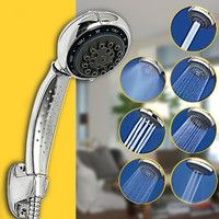Wish | 7 Mode Function Bathroom ABS Chrome Water Saving Pressure Hand Held Shower Head Sprayer Sprinkler 8.5*6cm