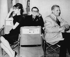 Audrey Hepburn, screenwriter Peter Stone and Cary Grant on the set of Charade, 1963, directed by Stanley Donen.