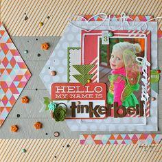 Hello My Name is Tinkerbell scrapbook layout by Martínez Martínez RODRIGUEZ at Studio Calico Scrapbook Patterns, Kids Scrapbook, Christmas Scrapbook, Disney Scrapbook, Scrapbook Sketches, Scrapbook Page Layouts, Scrapbook Paper Crafts, Scrapbook Cards, Scrapbook Photos
