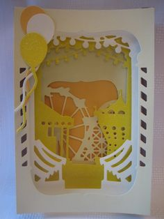 Handmade Fair Ground card made using Xcut Shadow Box Dies