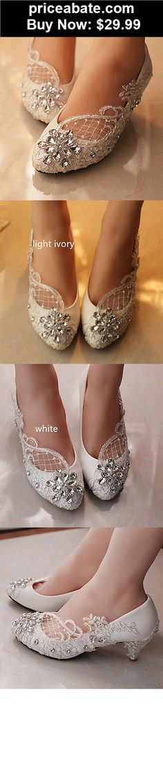 Wedding-Shoes-And-Bridal-Shoes: Lace white ivory crystal Wedding shoes Bridal flats low high heel pump size 5-12 - BUY IT NOW ONLY $29.99