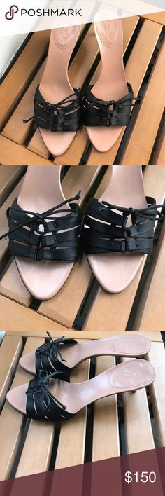 Gucci Black Satin sandals Gucci Black Satin Bamboo Corest Slide kitten heels Sandals The soles have very light signs of wear. The uppers are clean and in excellent condition.  The heel perfect Gucci Shoes Sandals