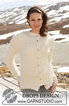 """DROPS jacket in """"Alpaca"""" and """"Kid-Silk"""" with yoke knitted from side to side. Size S to XXXL ~ DROPS Design"""